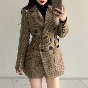 Plaid Double Breasted Belted Suit Blazer Jacket